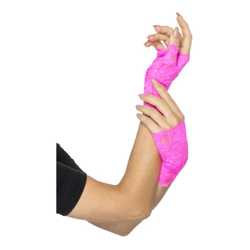 Bild på 80-tals Fingerlösa Spetshandskar Rosa - One size