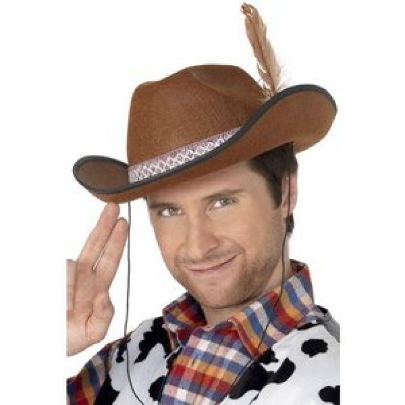 Bild på Cowboy / Dallas hatt brun med fjäder
