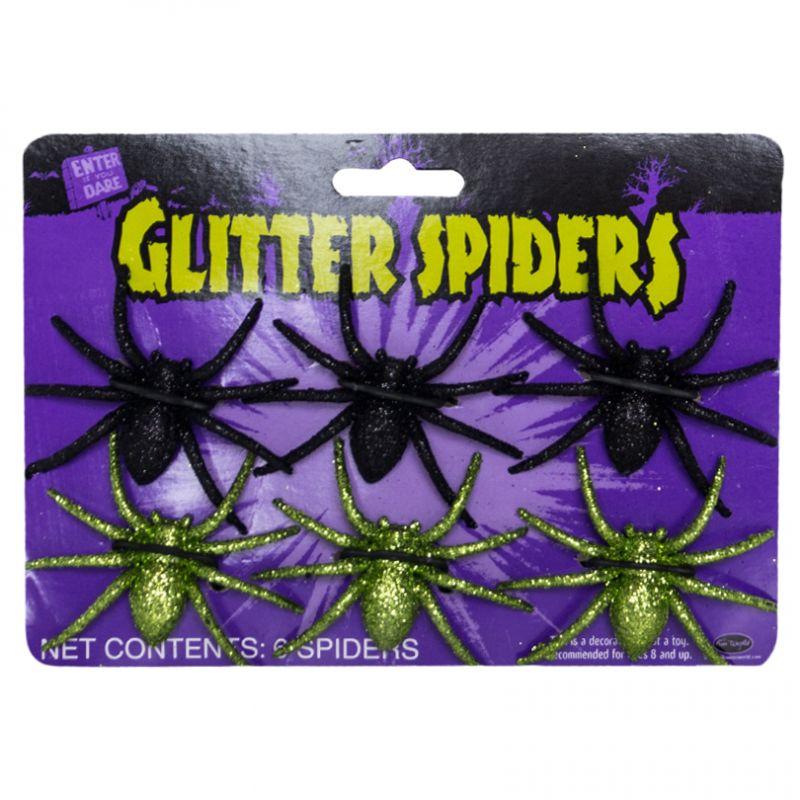 Bild på Glitterspindlar  6-pack-Grön/Svart