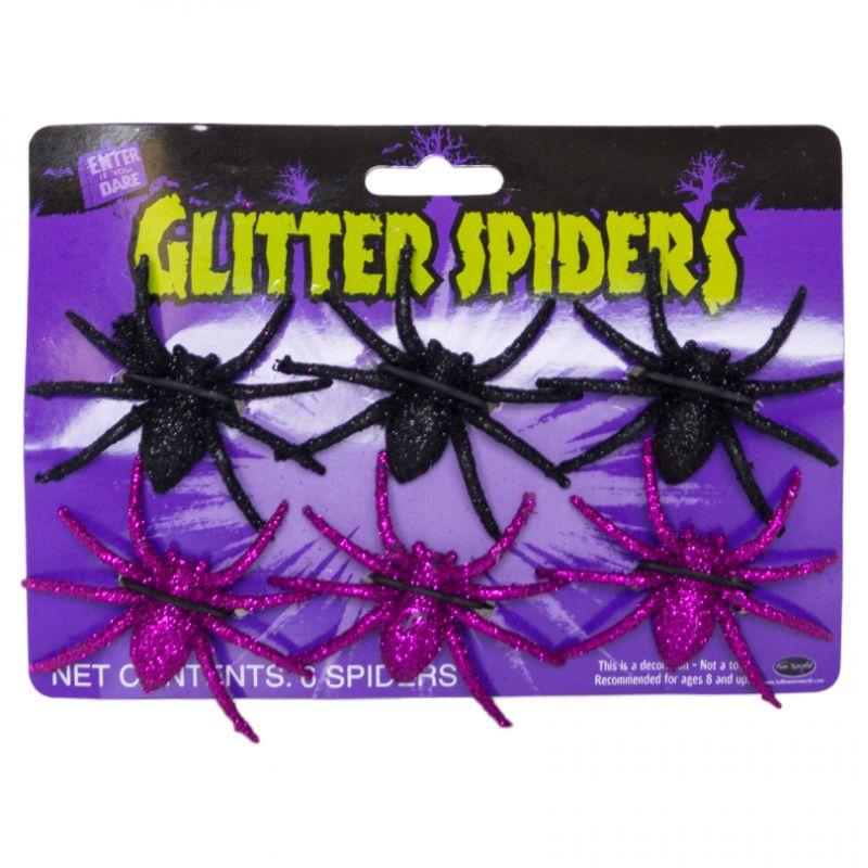 Bild på Glitterspindlar  6-pack-Lila/Svart