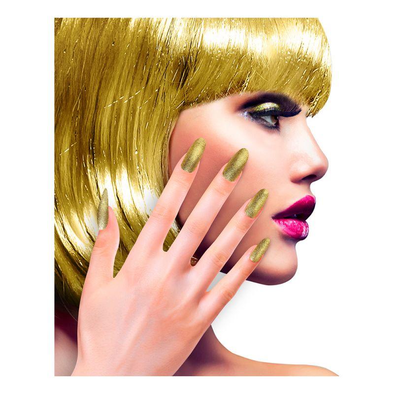 Bild på Lösnaglar Glitter Guld - 12-pack