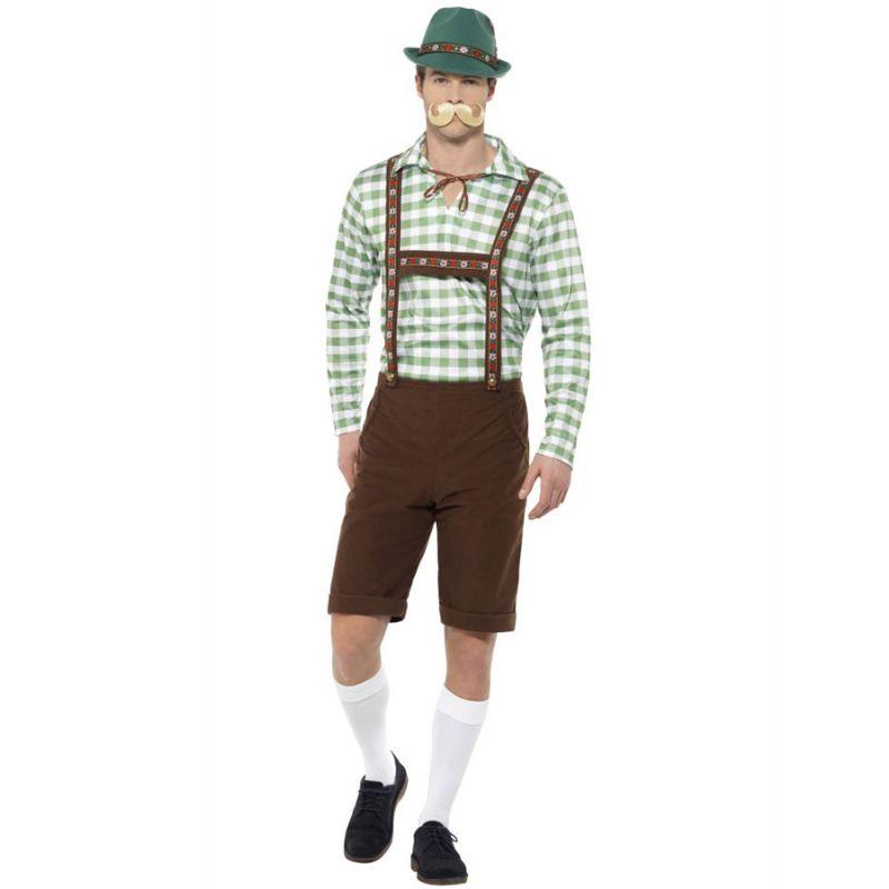 Bild på Oktoberfest Lederhosen Dräkt Grön & Brun (Medium)