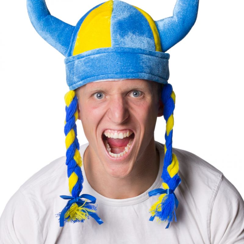 Bild på Vikingahjälm Blå/Gul med Flätor