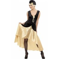 Bild på 20-talsdräkt Gatsbytjej i svart och guldfärgat