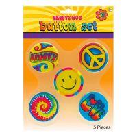 Bild på 60-tals Hippie Knappar - 5-pack
