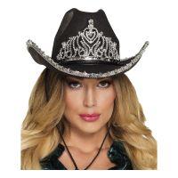 Bild på Cowboyhatt Svart med Tiara - One size