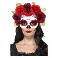 Bild på Day of the Dead Ansiktsmask med Rosor Röd
