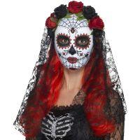 Bild på Day of the Dead Mask med Svart Slöja