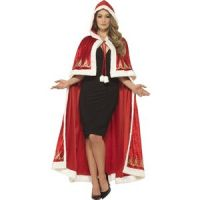 Bild på Deluxe Miss Claus Cape Red with Printed Detail