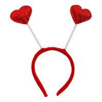Bild på Diadem med Hjärtan Röd - One size