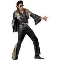 Bild på Elvis Kostym Svart/Guld Maskeraddräkt (Medium)