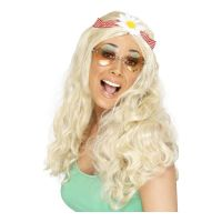 Bild på Groovy Blond Peruk med Blomma - One size