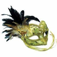 Bild på Guldig Venetiansk Mask med Fjädrar