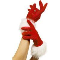 Bild på Handskar tomte röd med päls