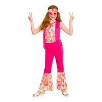 Bild på Hippieflicka Barn Rosa Maskeraddräkt - Large