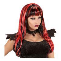 Bild på Lång Svart/Röd Halloween Peruk - One size