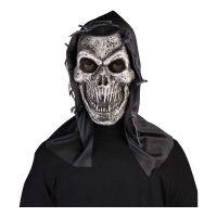Bild på Metall Dödskalle med Huva Latexmask - One size