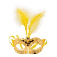 Bild på Ögonmask med Fjädrar Guld Metallic
