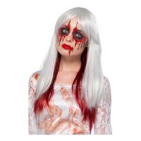 Bild på Ombre Vit/Röd Halloween Deluxe Peruk - One size