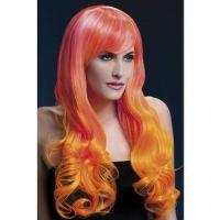 Bild på Peruk Emily lockig med lugg - rosa &amp  orange