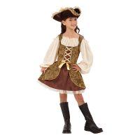Bild på Piratflicka Guld Barn Maskeraddräkt - Small