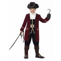 Bild på Piratkapten Deluxe Maskeraddräkt Barn, MEDIUM