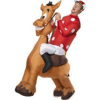 Bild på Uppblåsbar jockey och häst maskeraddräkt - Medium