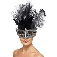 Bild på Venetiansk Colombina -  ögonmask med svarta fjädrar