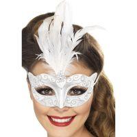 Bild på Venetiansk Silver Mask med Glitter