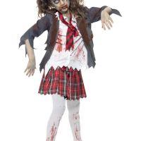 Bild på Zombie Skolflicka Maskeraddräkt Barn Medium