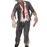 Bild på Zombie Skolpojke Maskeraddräkt Medium